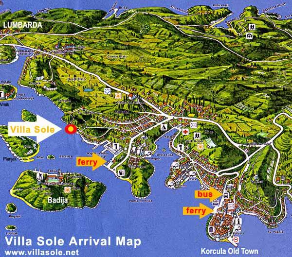 Villa Sole Arrival Map
